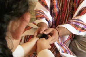 receiving ayahuasca from shaman