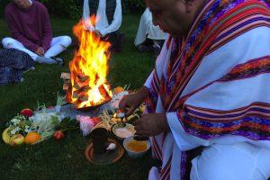 maestro sanango holding a vedic homa fire ceremony